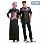 cp1169 gamis couple batik denim chambray