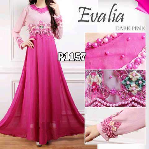 Gaun Pesta Evalia Sifon P1157 Baju Gamis Cantik Murah Butik Jingga