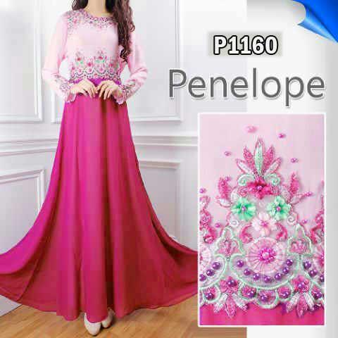 p1160 gaun pesta sifon penelope pink