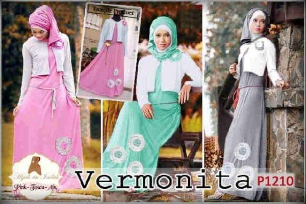Gamis Modern Vermonita P1210 Model Baju Muslim Remaja