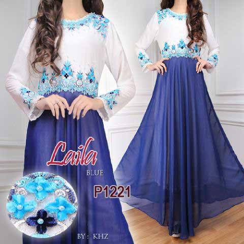 Gaun Pesta Laila Sifon P1221 Putih Baju Gamis Modern