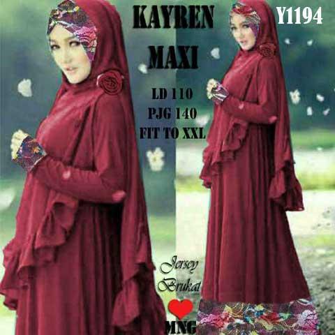 Gamis Kayren Y1194 Renda Brokat Baju Muslim Modern
