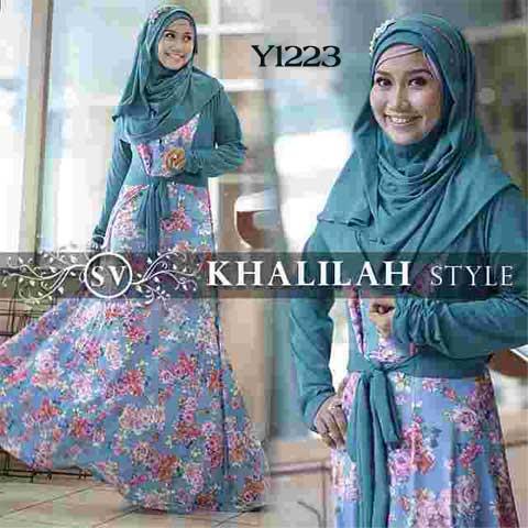 Y1223 gamis bergo khalilah style