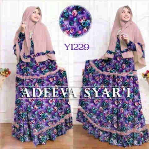Gamis Modern Adeeva Syari Y1229 Baju Muslim Set Bergo
