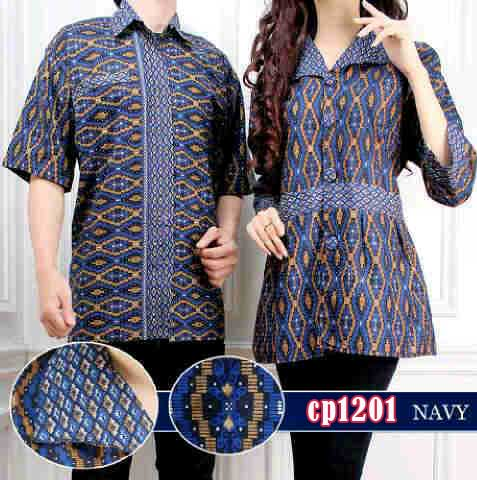 Batik Couple Sweet Navy Cp1201 Model Busana Lebaran Butik Jingga