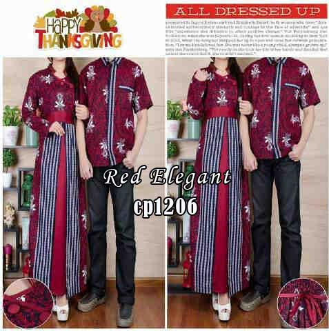 cp1206 gamis couple red elegant