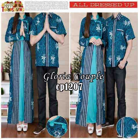 cp1207 gamis couple gloria biru batik