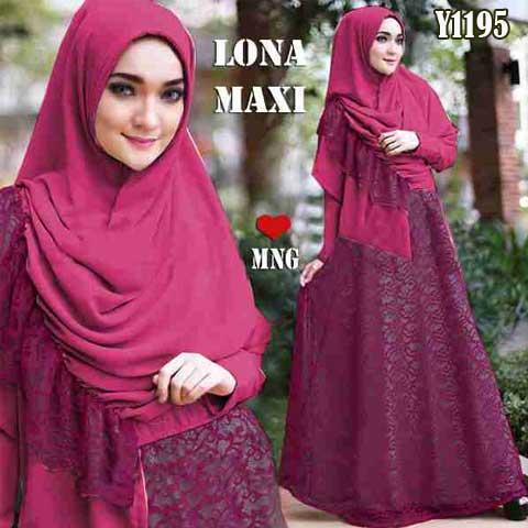 Gamis Cantik Lona Maxi Y1195 Brokat Baju Muslim Pesta Butik Jingga