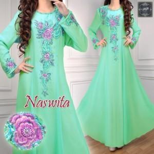 a005 baju pesta sifon Naswita hijau muda