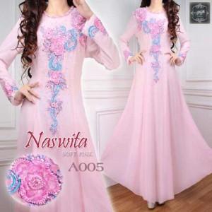 a005 baju pesta sifon Naswita pink muda