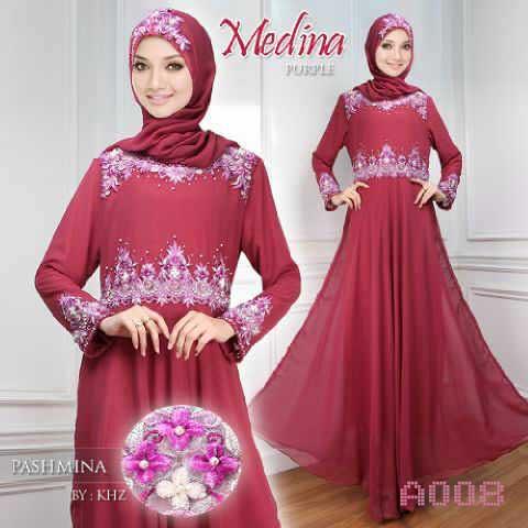 Gamis Pesta Medina Sifon A008 Pink Baju Muslim Modern Murah