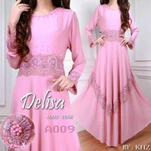 a009 baju pesta delisa  pink sifon payet