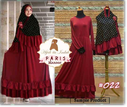 Gamis Bergo Paris Polka Jumbo 022 Baju Muslim Syari Butik Jingga