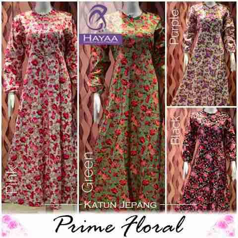 Maxi Prime Floral Bahan Katun Jepang Model Gamis Modern Butik Jingga
