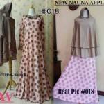 018 baju gamis syari nauna apple brown