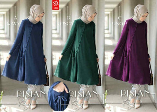 Baju muslim LONG BLOUSE RISIAN (navy, tosca, ungu)