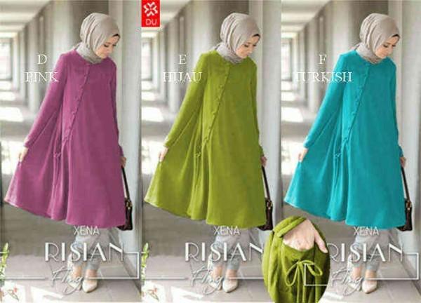 Baju muslim LONG BLOUSE RISIAN (pink, hijau, turkis)