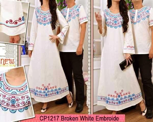 Gamis Couple White Bordir Cp1217 Baju Muslim Katun