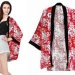 Cardi Kimono Bunga Merah Cardigan