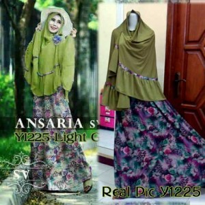 Y1225 gamis bergo ansaria hijau with real