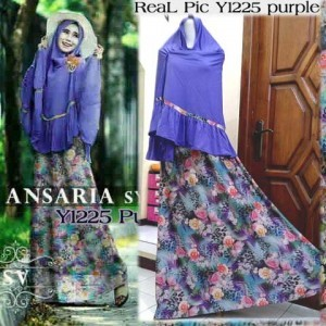 Y1225 gamis bergo ansaria ungu with real