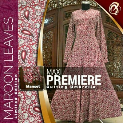 Maxi Long Dress Premiere Maroon Model Baju Gamis Batik