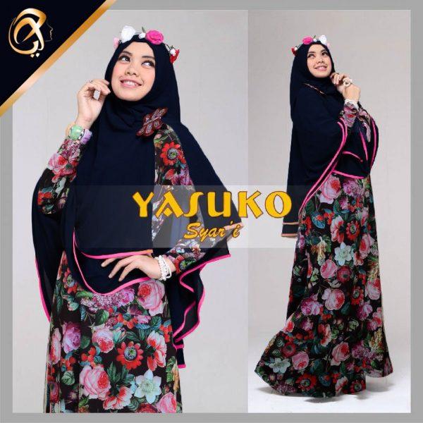 Gamis Syari Yasuko A045 Xl Baju Muslim Jilbab Sifon