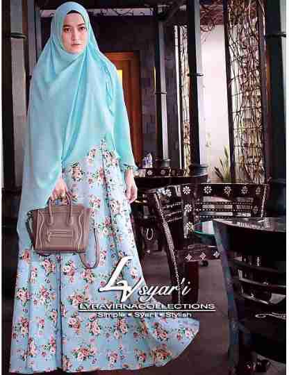 gamis syari Lyra rose blue