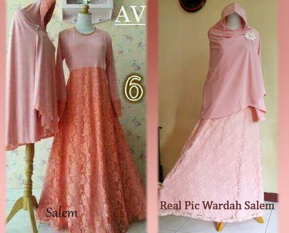 Gamis Syari Wardah Brokat A042 | Baju Muslim Pesta