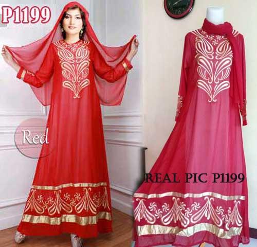 p1199 baju pesta sifon merah