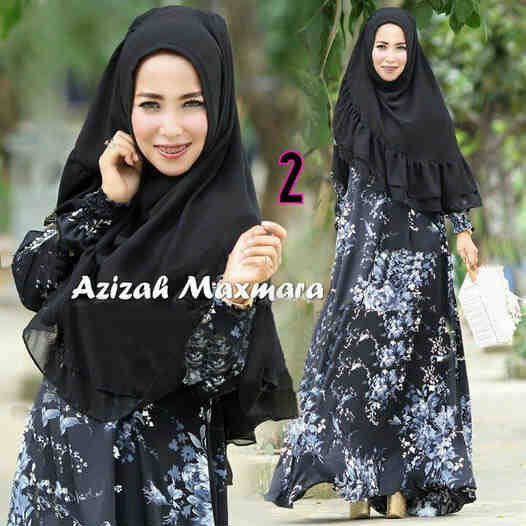 a055 gamis azizah jersey hitam