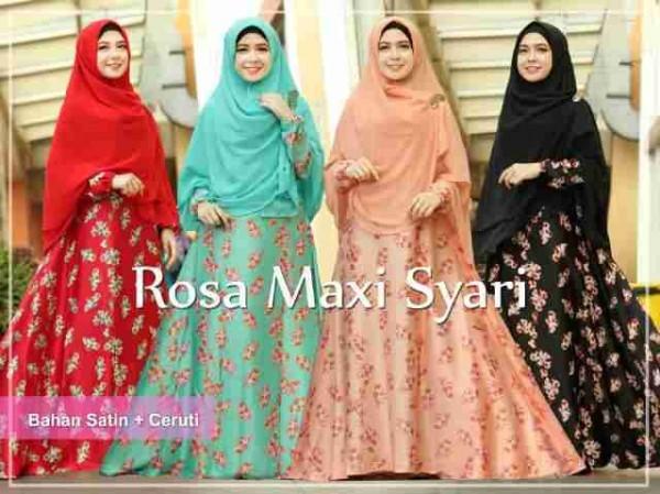 Gamis Syari Rosa Satin A059 Busana Muslim Modern