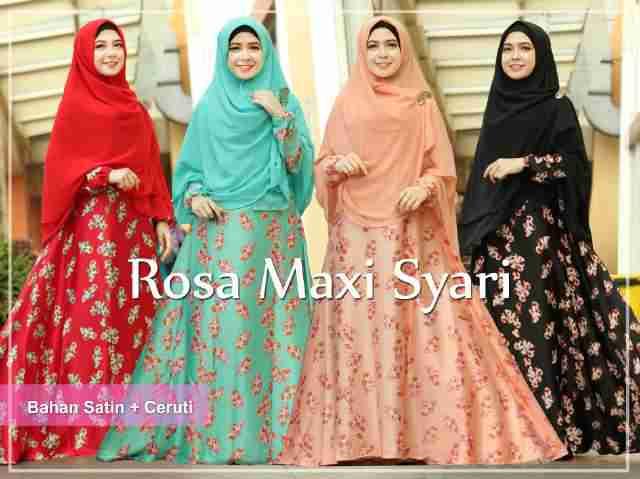 Gamis Syari Rosa Satin A059 Busana Muslim Modern Butik Jingga