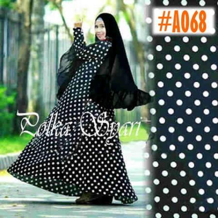 a068 gamis luna polka hitam