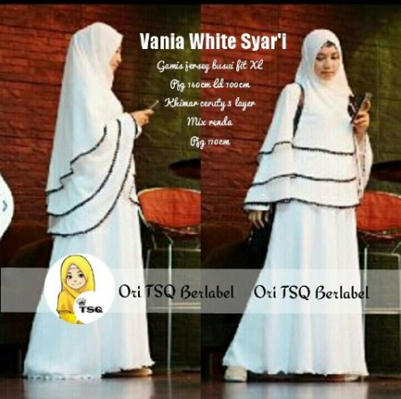 Gamis Syari Vania A081 Baju Muslim Pesta Putih