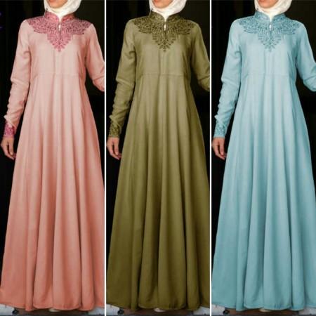 Gamis Pesta Hermy Bordir A104 Baju Muslim Modern Butik Jingga