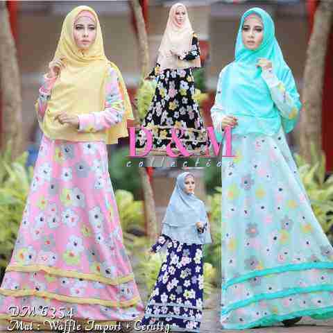 Gamis Remaja A122 Waffel Model Baju Muslim Terbaru Butik Jingga