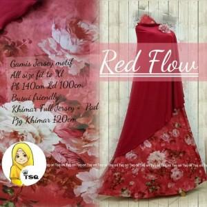 gamis jersey red flow syari