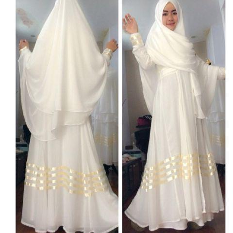 Gamis syari rizka sifon a075 model baju muslim pesta modern Baju gamis putih murah