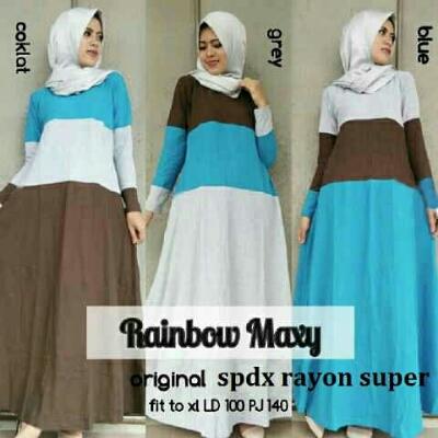 Gamis remaja rainbow maxi a176 baju muslim modern Harga baju gamis remaja modern