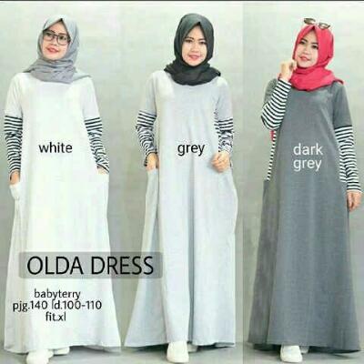 Gamis Remaja Olda Dress A178 Baju Muslim Remaja Modis Butik Jingga