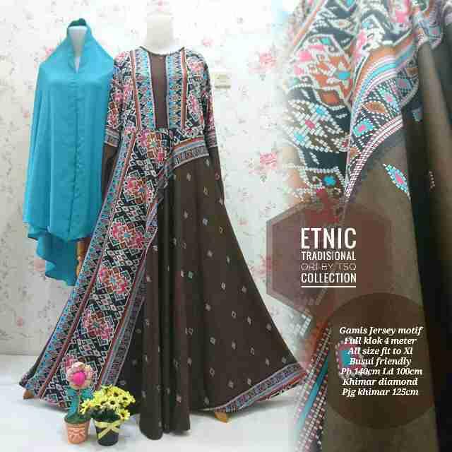 Gamis Jumbo Etnik Syar I B099 Baju Muslim Batik Modern Butik Jingga