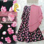 A146B Gamis Katun Big Flower Pink