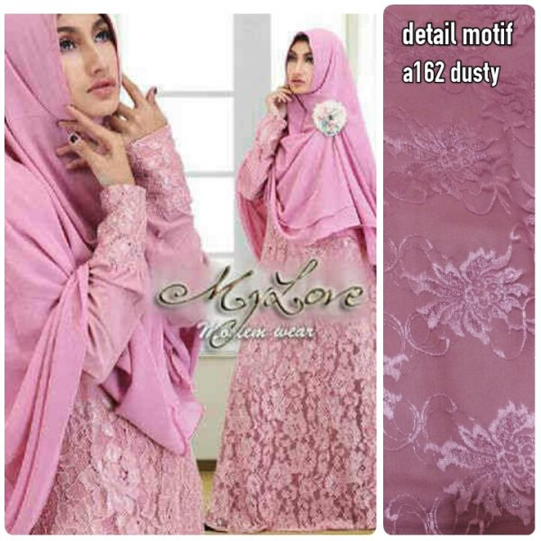 a162 gamis pesta brukat dusty (real pic)