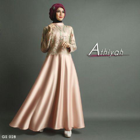 Baju Pesta Premium Athiyah A207 Satin Mix Brokat By Shiraaz