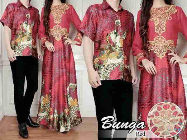 Batik Couple Bunga Cp184 Gamis Untuk Pesta Lebaran