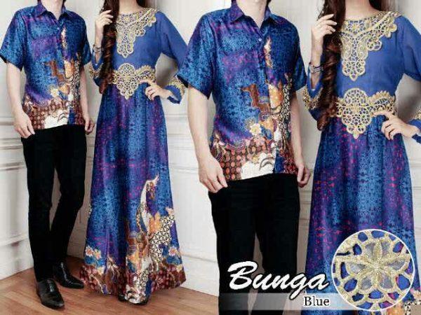 cp184 gamis couple batik biru