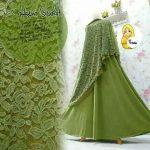a200b Gamis Hasna Brokat Syari Hijau