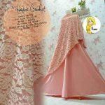 a200b Gamis Hasna Brokat Syari Peach