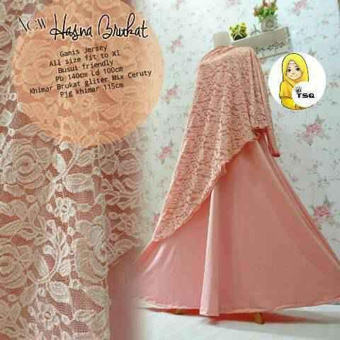 Gamis Syari Hasna Brokat A200b Peach